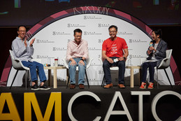Panel speakers of the opening plenary: (left to right) Mr Antony Leung (梁錦松) , CEO, Nan Fung Group; Mr Leong Cheung (張亮), Executive Director, Charities and Community, The Hong Kong Jockey Club; Mr Jason Chiu (趙子翹), CEO, The Cherrypicks; and moderator Professor Bernadette Tsui.